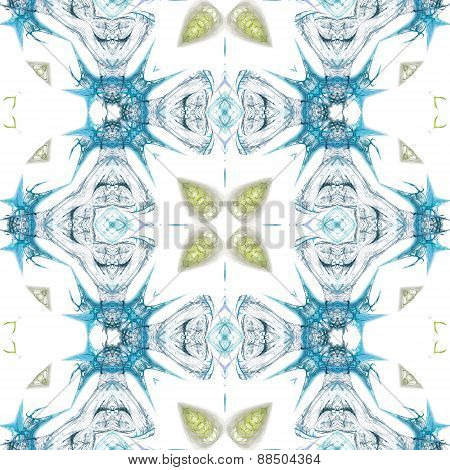 Seamless Kaleidoscope Texture Or Pattern In Blue And Green 3