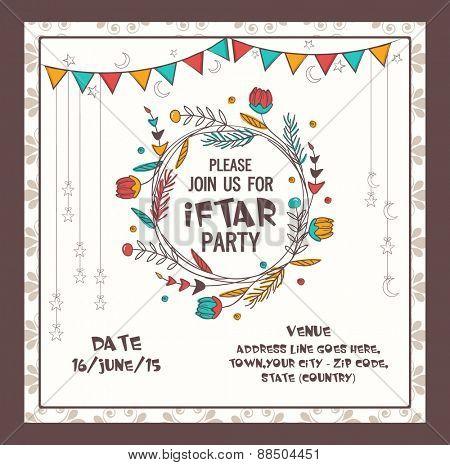 Beautiful decorated invitation card design for holy month of muslim community, Ramadan Kareem celebration.
