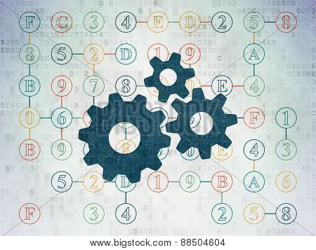 Data concept: Gears on Digital Paper background