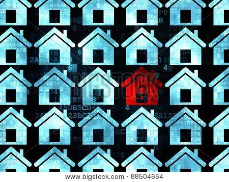 Safety concept: red home icon on Digital background