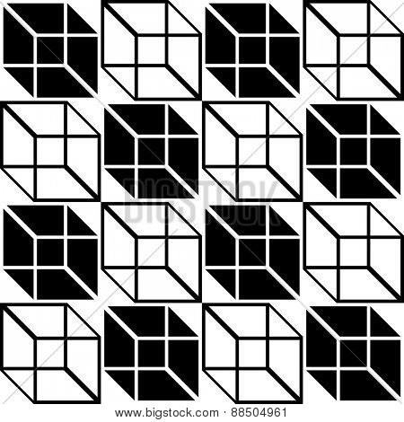 Seamless Cube Pattern. Abstract Black and White Background. Vector Regular Texture