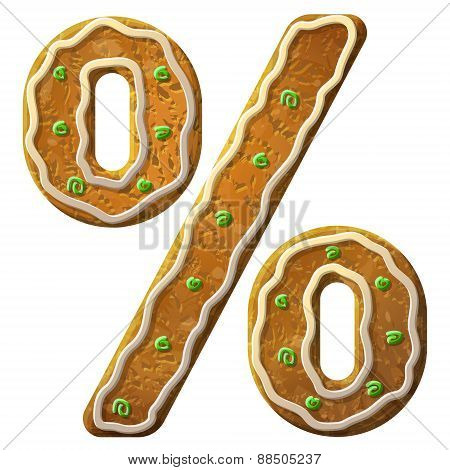 Gingerbread Percent Sign Decorated Colored Icing