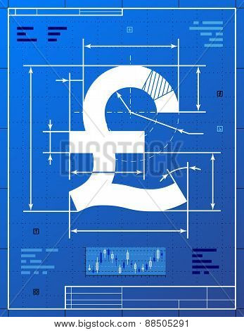 Pound Sterling Sign Like Blueprint Drawing