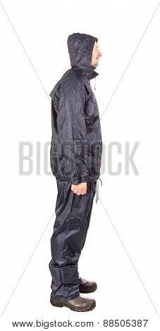 Worker in black workwear.