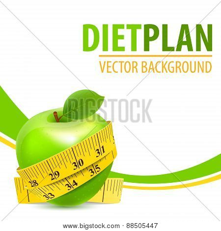 Green apple with yellow measuring tape background