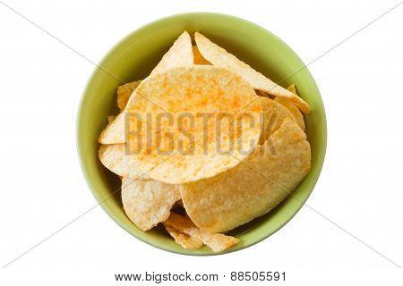 Crispy Potato Chips Isolated On White Background