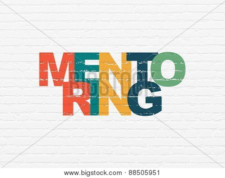 Education concept: Mentoring on wall background