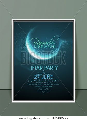 Ramadan Kareem, Iftar party celebration invitation card with crescent moon in blue night and floral design.