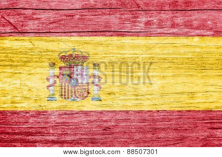 Spanish Flag Overlay On A Wooden Plank With Wood Nerves
