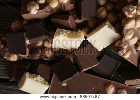 Set of chocolate with hazelnut, closeup