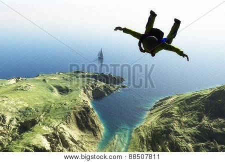 Parachutist on the green island.