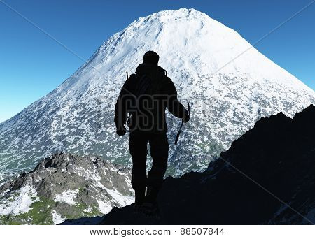 The  man goes shalt thou finish snowy mountains.