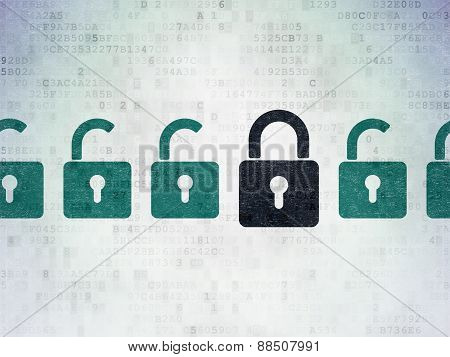 Privacy concept: black closed padlock icon on digital background