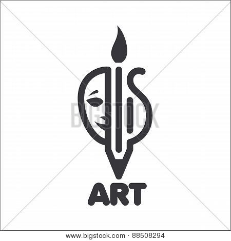 Vector Logo Creativity In Theater, Music And Painting