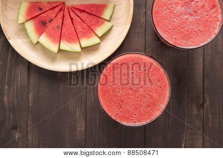 Healthy Watermelon Smoothie On A Wood Background.