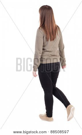 back view of standing young beautiful  girl with tablet computer in the hands of. girl  watching. Rear view people collection.  backside view of person.  Isolated over white background.