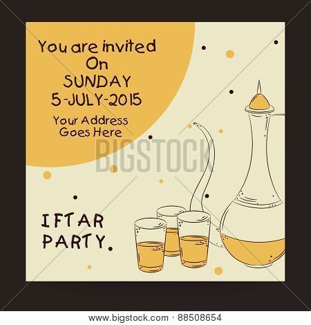 Creative Ramadan Kareem Iftar party celebration invitation card with date, time and place details.