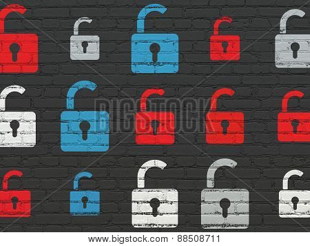 Security concept: Opened Padlock icons on wall background