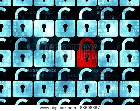 Privacy concept: red closed padlock icon on Digital background