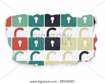 Security concept: Opened Padlock icons on Torn Paper background
