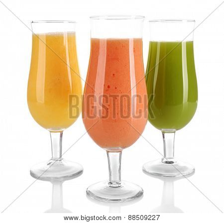 Fresh summer cocktails isolated on white