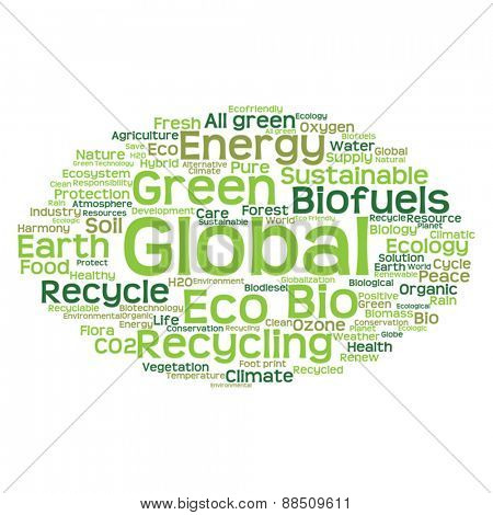 Vector concept or conceptual abstract green ecology and conservation word cloud