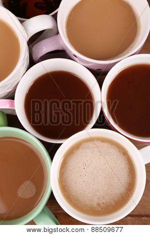 Cups of cappuccino, closeup