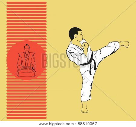 The Man Shows Karate.