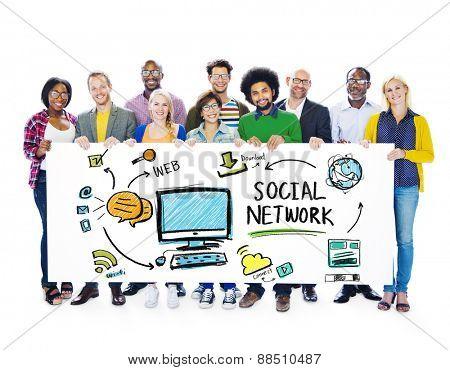Social Network Social Media People Diversity Banner Concept
