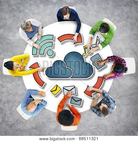 Aerial View Business People Cloud Computing Connection Concepts