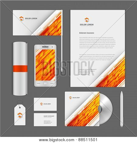 Abstract Logotype corporate identity template Mock up design elements. Vector clean white Business stationery, cd, flag, document, business card, smart phone, sale tag.