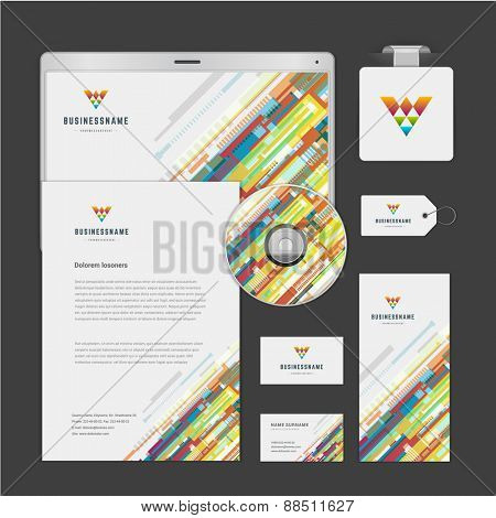 Abstract Logotype corporate identity template Mock up design elements. Vector clean white Business stationery, cd, envelope, document, business card, tablet computer, label, brochure.