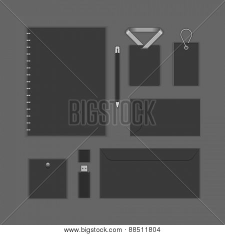 Black Luxury Logotype presentation corporate identity template Mock up design elements. Vector Business stationery objects, document, business card, envelope, notepad, badge and other.