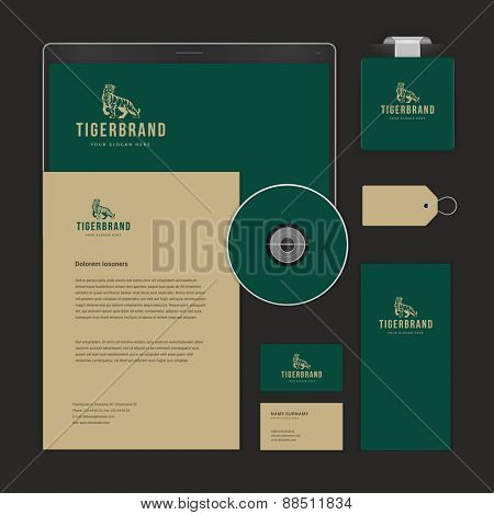 Luxury Logotype presentation corporate identity template Mock up design elements. Vector Business stationery objects, document, business card, flag, sale tag and other.