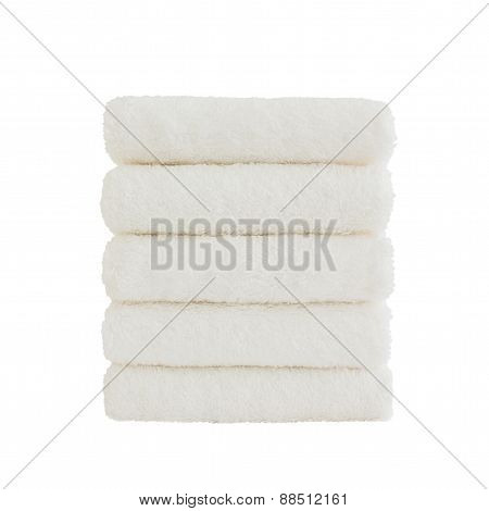 Stack Of White Bath Towels Isolated Over White