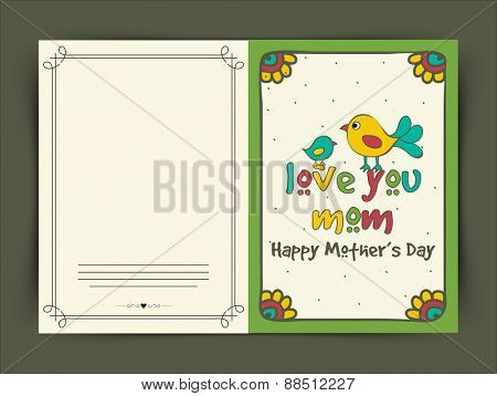 Happy Mother's Day celebration greeting card with illustration of baby bird saying to her mother Love You Mom.