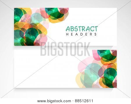 Website header or banner set with colorful abstract design and blank space for your text.