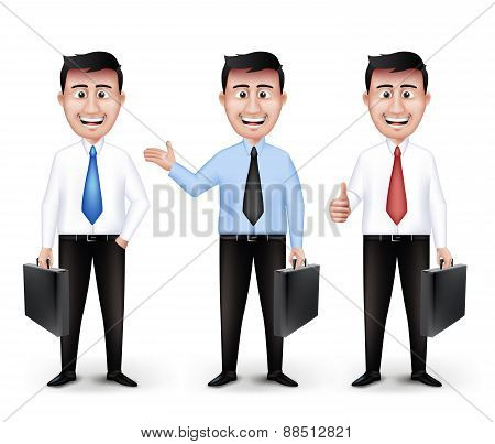 Set of Realistic Smart Different Professional and Business Man