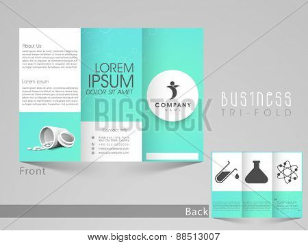 Professional trifold brochure, catalog and flyer for medicine business purpose.