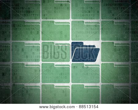 Business concept: blue folder icon on digital background