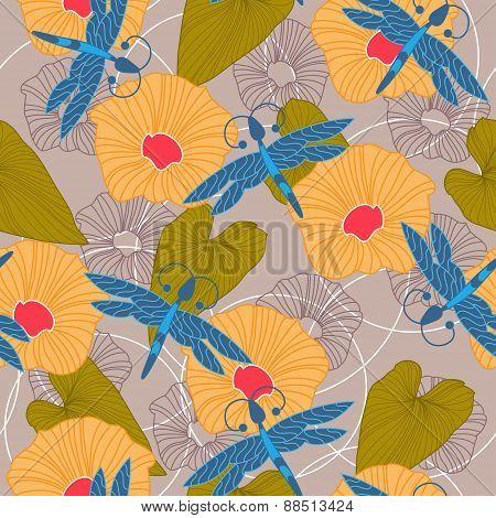 Summer Floral Seamless Background. Vector Illustration