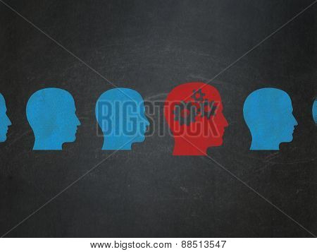 Finance concept: head with gears icon on School Board background