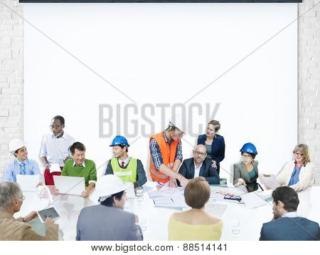 Business People Meeting Corporate Presentation Architect Design Concept