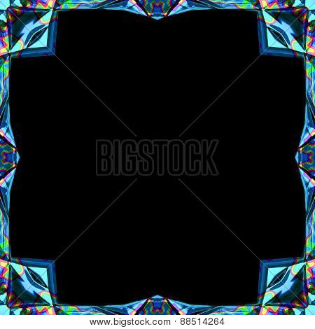 Colored Abstract Blue Futuristic Metal Ornamental Frame With Rainbow Splash For Photographs Or Paint
