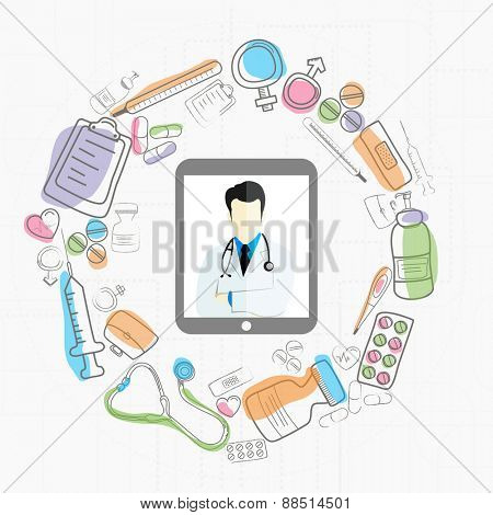 Digital tablet screen showing illustration of doctor and different medical objects on white background for Health and Medical concept..