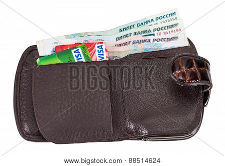 Wallet With Russian Rubles And Credit Cards, Isolated On White