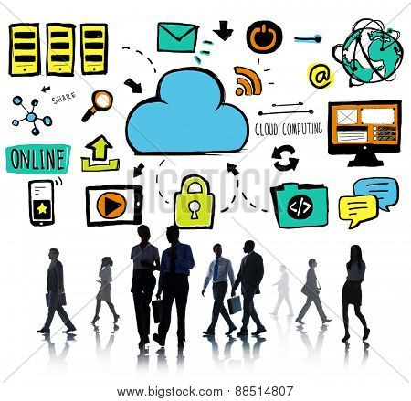 Business People Cloud Computing Data Office Worker Concept