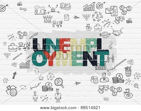 Business concept: Unemployment on wall background