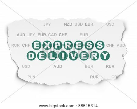 Business concept: Express Delivery on Torn Paper background