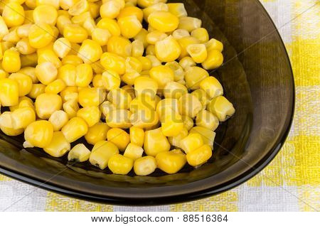 Sweet Corn In Black Oval Dish Closeup